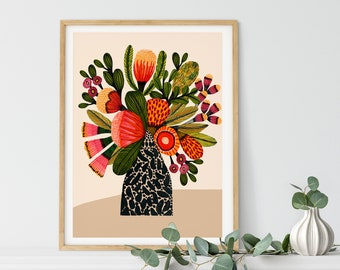 Australian Flowers Wall Art Print, Botanical Print, Native Aussie Flora, Wall Decor, Protea Print, Australian Painting, Home Decor