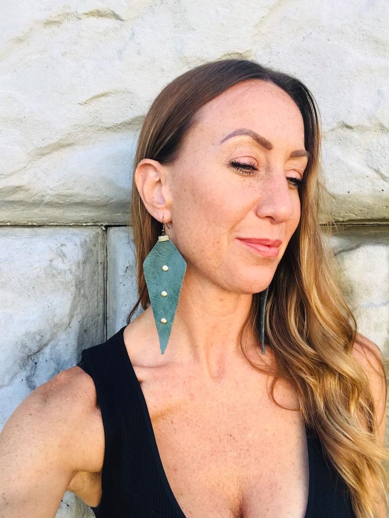 Medium Sage Green Leather Studded Earrings