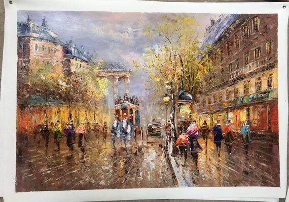Original Paris City Art Painting People Walking In The Bustling Streets Of Paris Large Wall Art Paris City Landscape Oil Painting On Canvas
