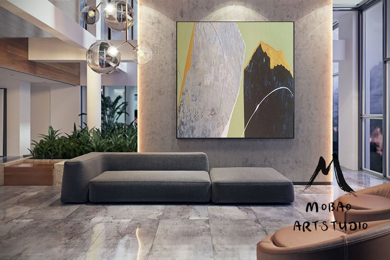 Large Abstract Minimalist Art Painting,Large Texture Abstract Painting,Black Painting Gary Abstract Painting,Green Painting,Contemporary Art
