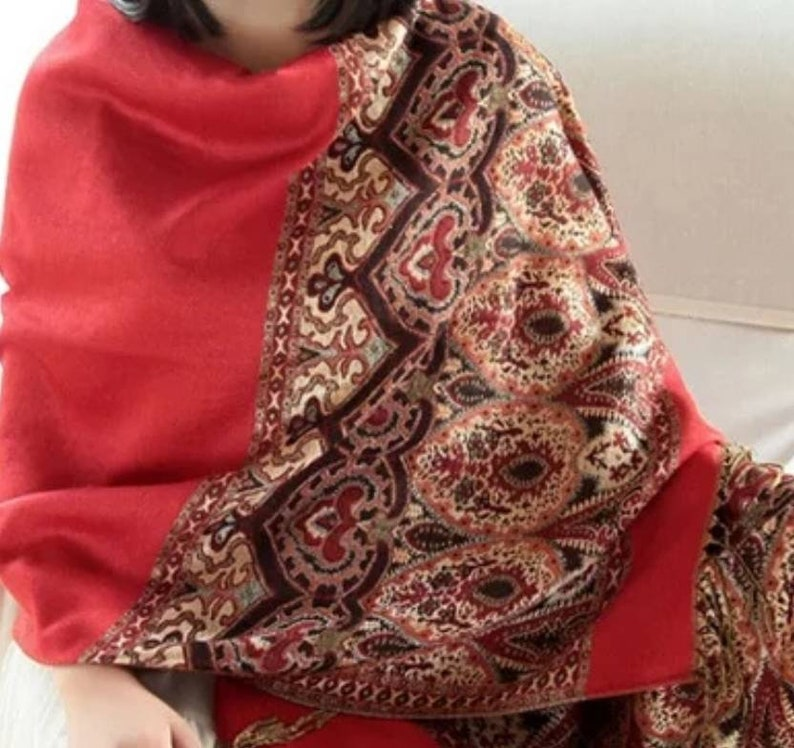Red Cashmere scarf pashmina scarf large red pashmina Winter warm scarf Gift for her Christmas gift