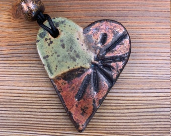 Free shipping Hand made ceramic ornament with leaf imprints and bead