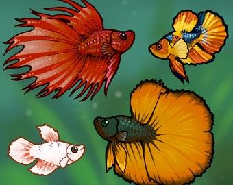 Betta Fish Holo-Glitter Stickers