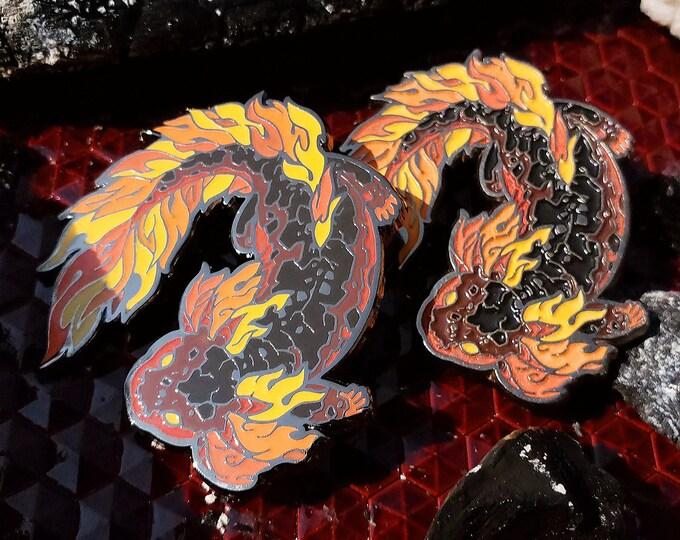 Fantastic Flames Ember Salamander Enamel Pin