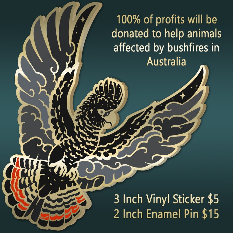 Charity Sticker  Red Tailed Black Cockatoo image 0