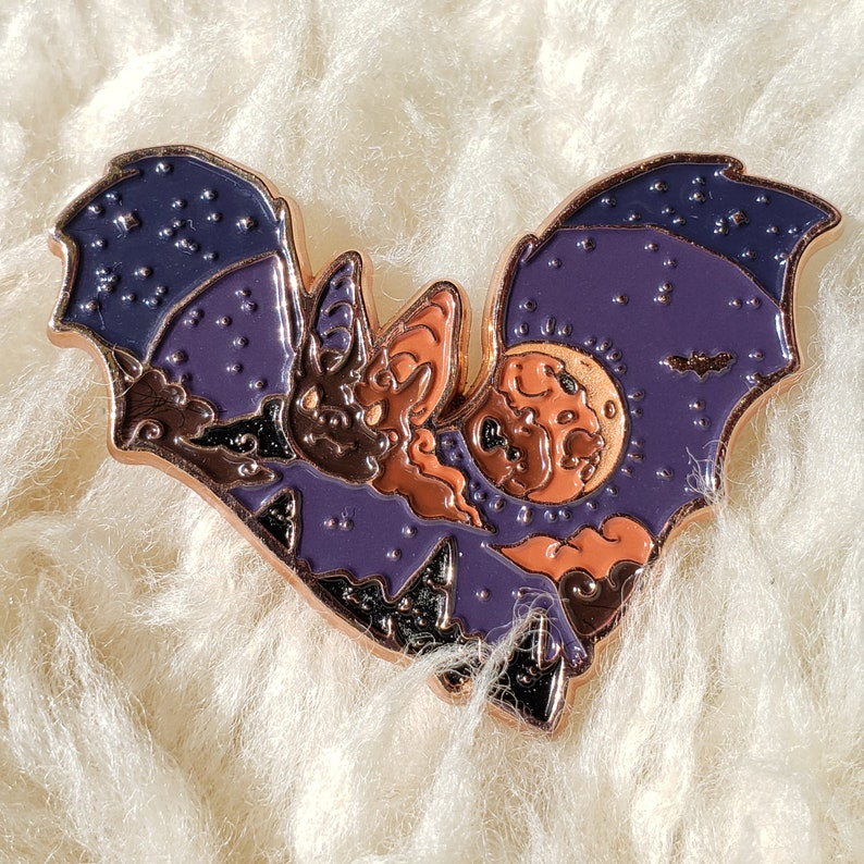 Bloodmoon Bat Enamel Pin: Wild Sky image 0