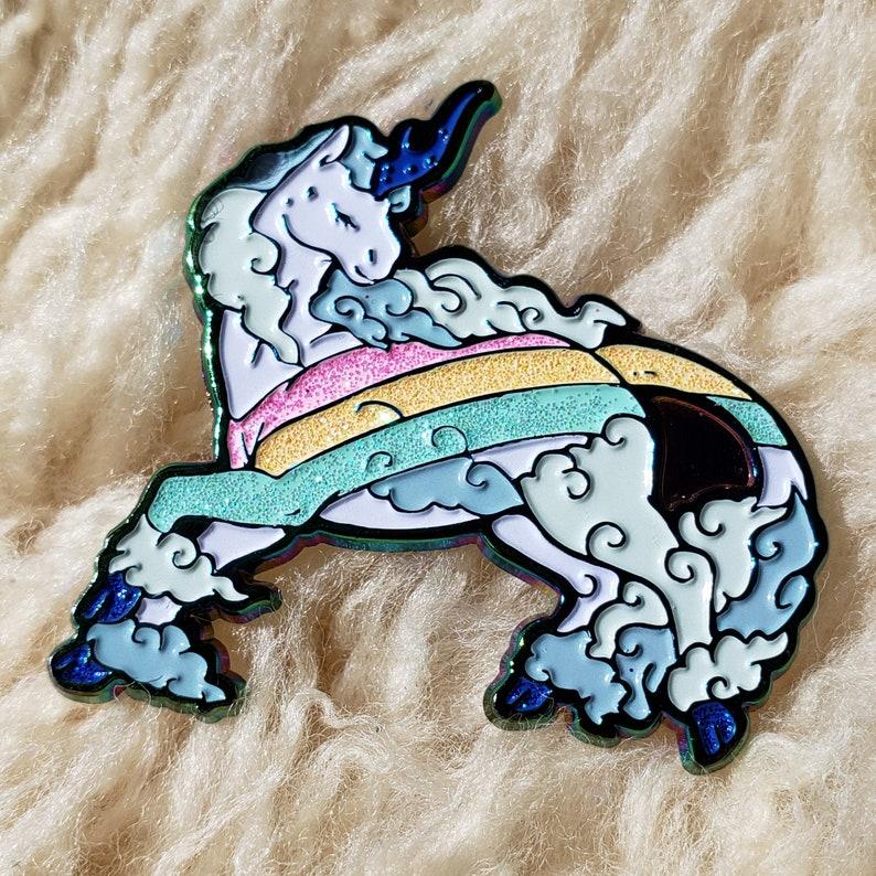 Rainbow Kirin Enamel Pin v2: Wild Sky image 0