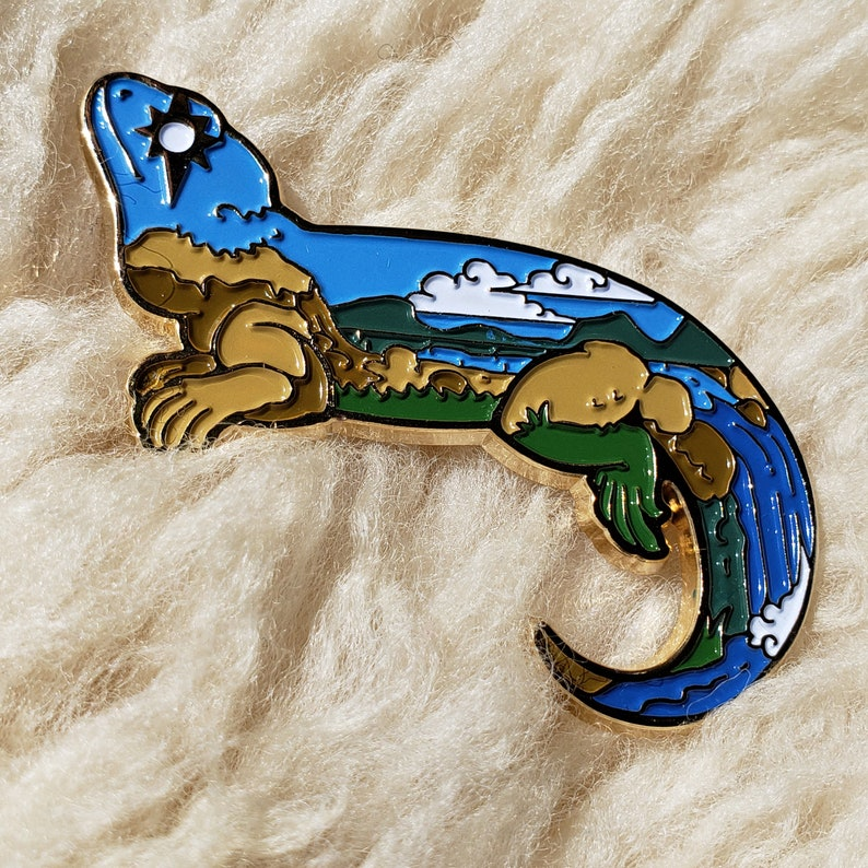 Sunshine Bearded Dragon Enamel Pin: Wild Sky image 0
