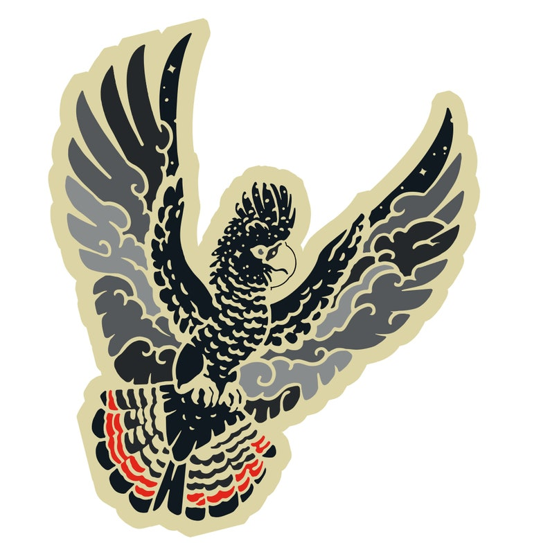 Red Tailed Black Cockatoo Sticker image 0