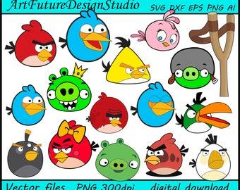 Angry Birds svg, Chuck svg, Terence svg, Bubble svg, Matilda svg, Red Bird svg, printable, Cut files, SVG, Ai, Eps, Dxf, Png 300 dpi