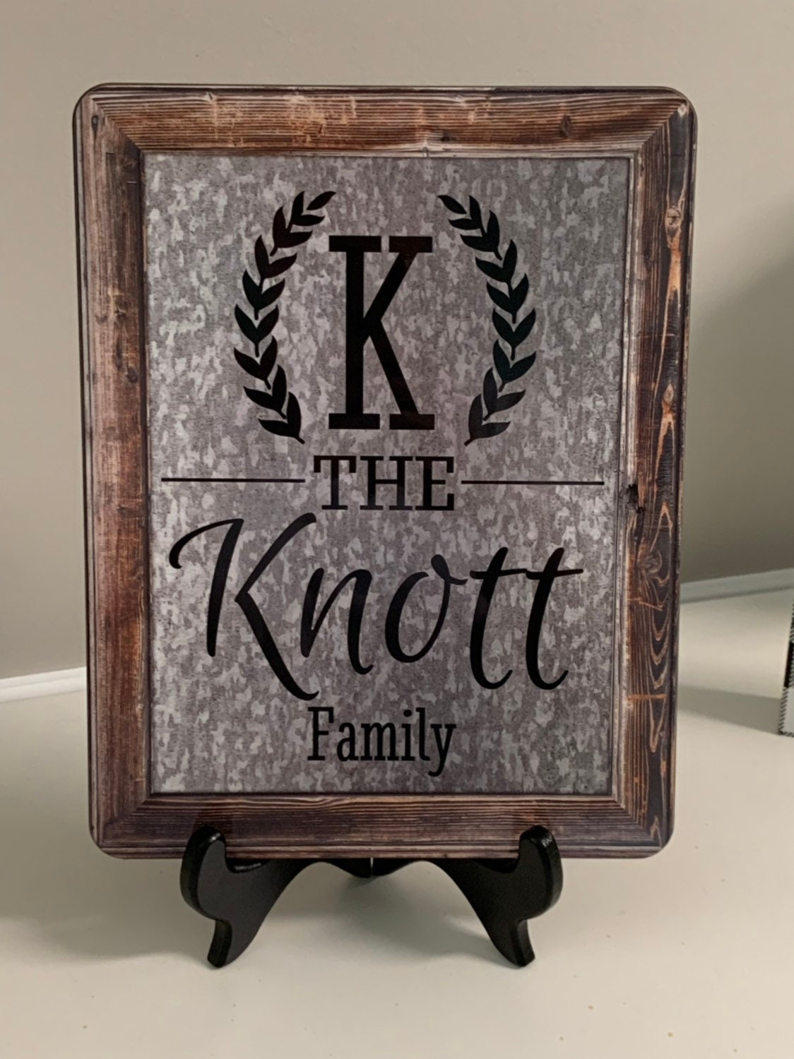 Galvanized Tin Farmhouse Wood Frame Sign Personalized With