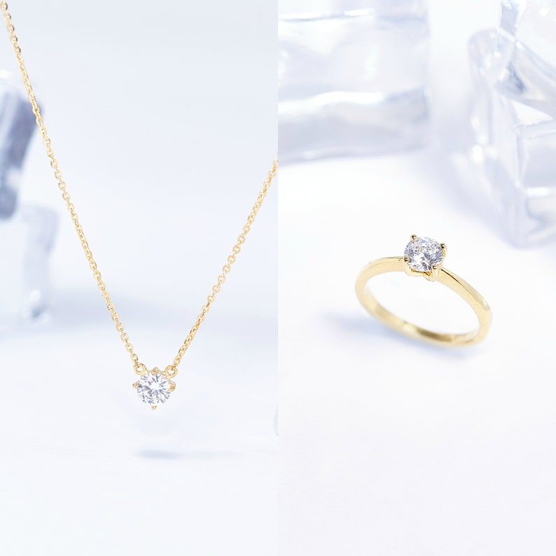 Silver Solitaire CZ Jewelry-Set of Ring and Neklace For Women-Rings For Women-Promise Jewelry For Her-Anniversary Bridesmaid Birthday Gifts