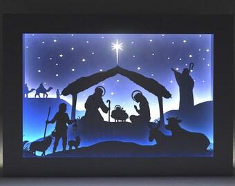 3D Shadow Box Svg Christmas Jesus christ Paper Cut Template Light Box Cut Files