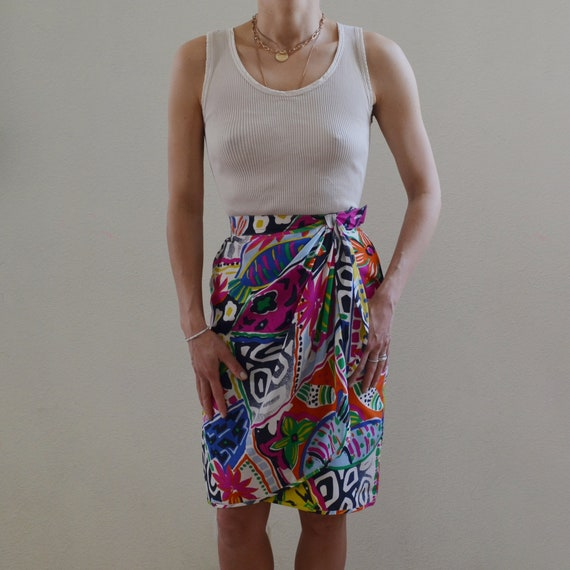 Vintage Escada silk wrap skirt