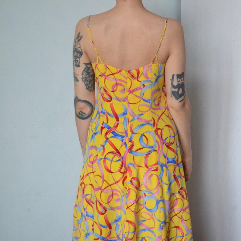 Escada vintage 80s pure silk yellow logo dress