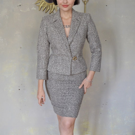 Thierry Mugler vintage wool silk suit blazer skirt