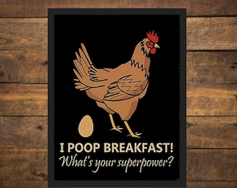 Wedding Ceramic Chicken I Poop Breakfast...What/'s Your Superpower? Trivet Great Hostess Birthday Gift or Party Favor