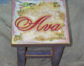 Lovely Bird Personalized Wooden Step Stool For Kids In Custom Colors Handpainted Childrens Foot Stool First Birthday Gift For Playroom