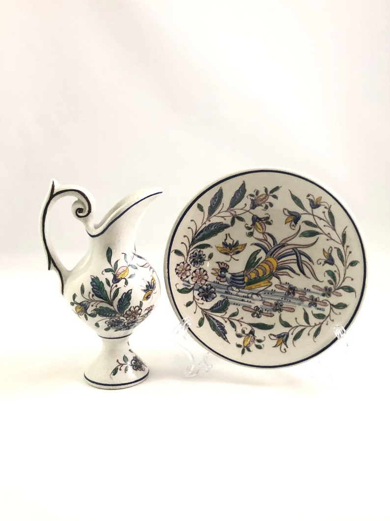 Hand Painted Urn and Saucer Made in Portugal