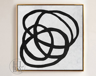 Oversized Abstract Painting on Canvas, Abstract Art Canvas Painting Minimalist Art Black White Painting Large Wall Art Decor - #J60K