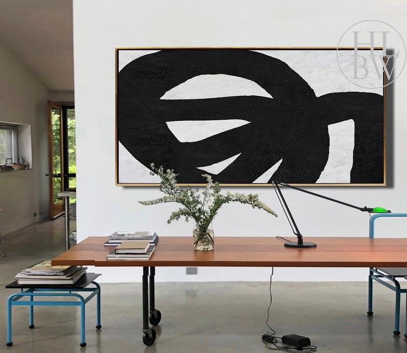 Textured Painting -HLBW No.J147N Oversized Abstract Art Black White Painting on Canvas Modern Minimalist Painting Original Art