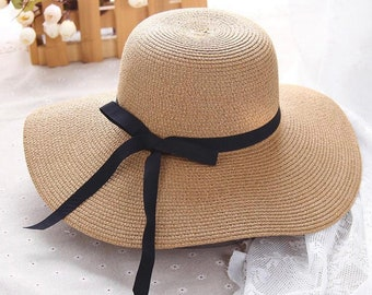 Vintage Summer straw hat with Brim.straw hat for women.Foldable summer hat.