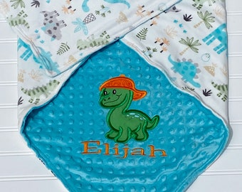 Baby Boy Lovey or Stroller blanket Personalized Dinosaur Baby Blanket Custom Made You Choose Back Minky Color Double sided Minky