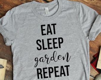 e562464a Eat Sleep GARDEN Repeat- Unisex Short Sleeve Tee- funny pun gardener tshirt  for mom and dad, birthday gift for green thumb gardening lover