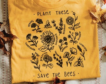 d998e3838ea493 Plant these Save the Bees | Bee Lover Tee | Mom Tee | Graphic Tee | Be You  | Honey Bee Tee | Save the Bees Tshirt | Women's Tees