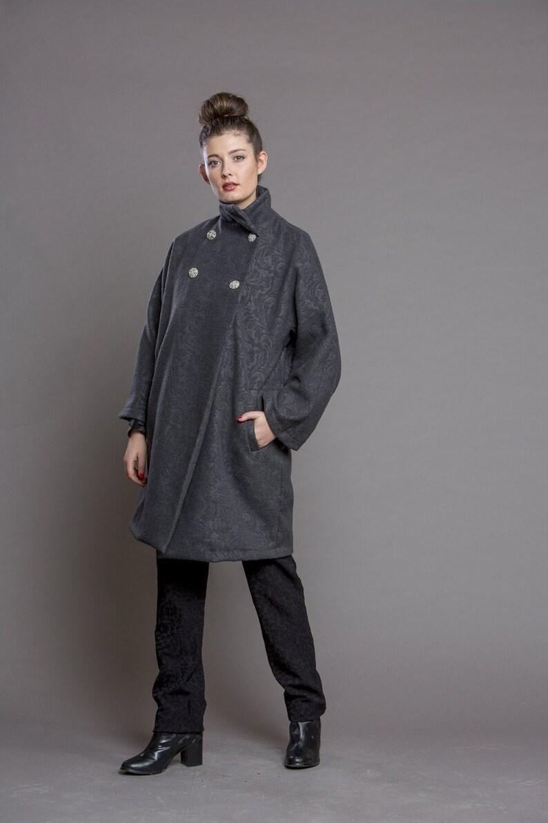 Women's Coat Wool Coat Gray Coat Warm Coat Winter Coat image 0