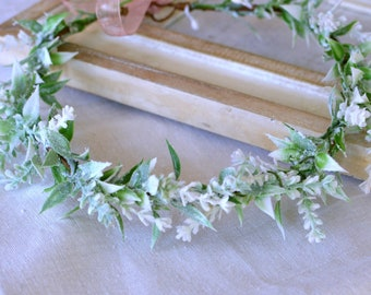 Aqua Mint and Cream Flower Girl Crown~Light Green Floral Hair Wreath Halo~Minty Green Cream Floral Head Piece~Boho Wedding Hair Wreath