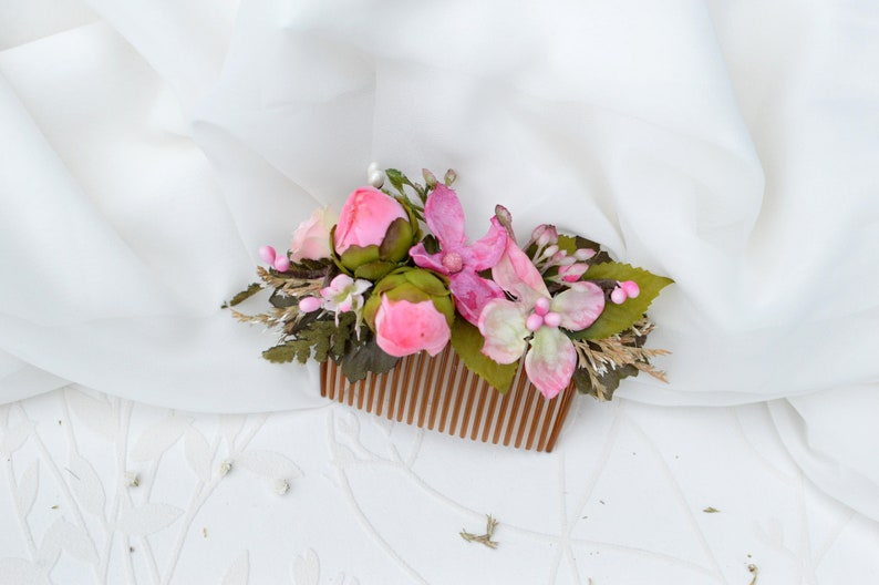 Flower hair accessories Pink floral hair comb Bridal hair comb Hydrangea Pink wedding comb Pink floral hair clip Wedding hair comb