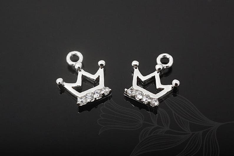 M922-2pcs-Rhodium Plated-CZ Crown-Tiny Crown Pendant-Cubic Crown Charms