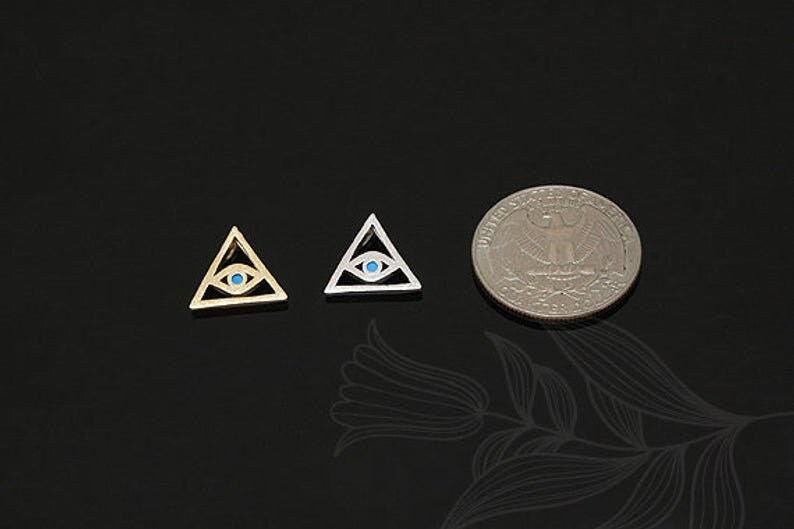 M1353-2pcs-Rhodium Plated-CZ  Evil Eye Charm-Turquoise