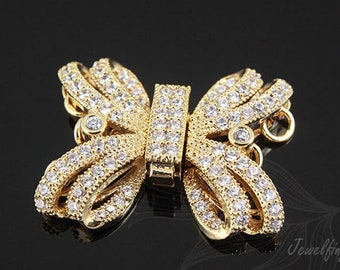 M641-1pcs-Gold Plated-CZ  Clasp-Lock Finding-Metal Clasp For Jewelry Finding