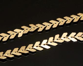 A416-1M-Gold Plated-6*5mm laurel leaf Chain-Fish Bones Chain