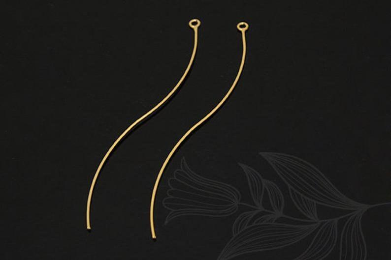 S1184-2pcs-Gold Plated Wave Bar Pendant,Stick Pendant