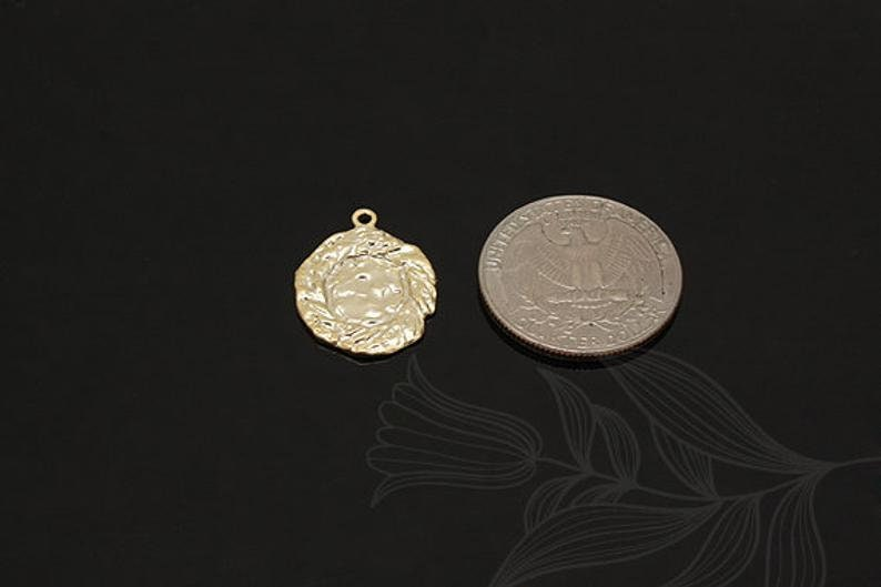 M1474-2pcs-Matt Gold Plated-Coin Pendant,Coin Charm