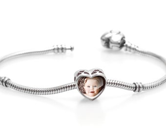 90f761636 Personalised Photo Bracelet Charm / Custom Bracelet / Photo Bracelet  Picture Bracelet / Photo Jewelry / Pandora Charm Bracelet Authentic