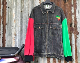 87ef0b31edf Vtg 90s cross colours multicolour sleeve jacket    hiphop style made in usa  with tiptop condition !!