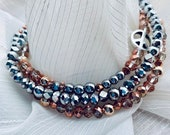 Hematite, Rose Gold, and Silver Anklet Set