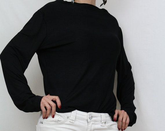 Black loose fit top / Jersey top