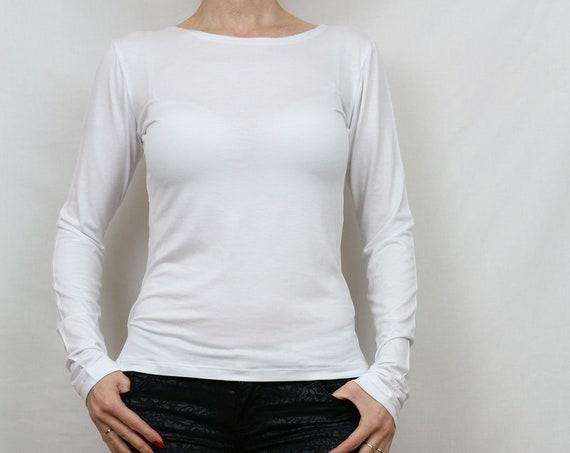 Women top/ White top/ Long sleeve top / white shirt