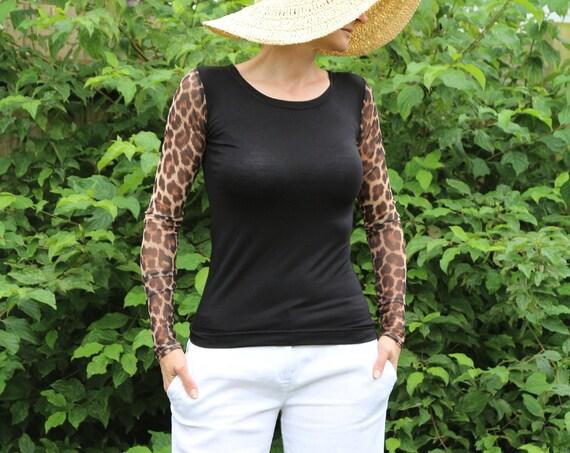Black top/ Black top women / Long sleeve top / Sheer top / Black shirt / Animal print top /  Womens top / Sexy top / Black tops in the UK