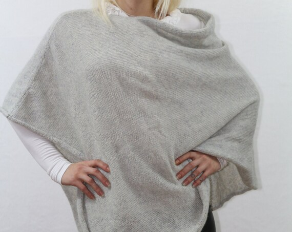 Poncho / Grey pullover/ Womens pullover / Summer pullover/ knitted sweater / Knitted poncho / Alpaca poncho