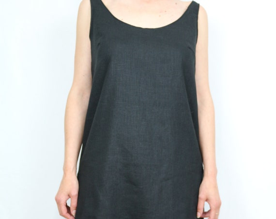 Linen dress/ Linend dress for women/ Linen tunic / Linen kaftan / Black dress/ Black linen dress