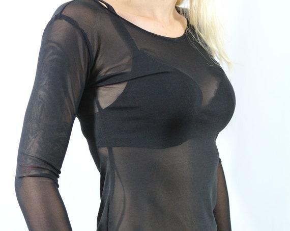 Black top/ Black top women / Long sleeve top / Black shirt / Sheer top / Animal print top / Black tops for women / Ghotic black top
