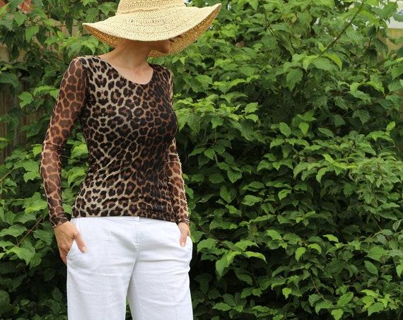 Black top/ Womens black top / Long sleeve top / Black shirt / Sheer top / Animal print top / Black tops for women