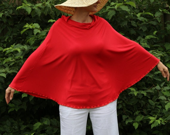 Red Poncho/ Red skirt/ Womens skirt / Womens poncho / Womens dress/ Red dress / 3 in 1