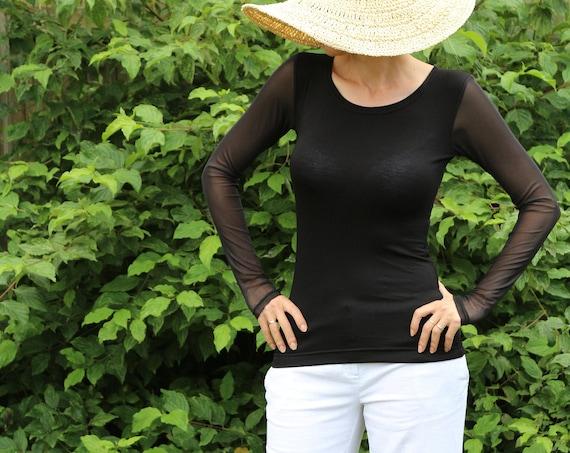 Black top/ Womens black top / Long sleeve top / Black shirt / Sheer top / Black tops for women / Black blouse / Ghotic black top